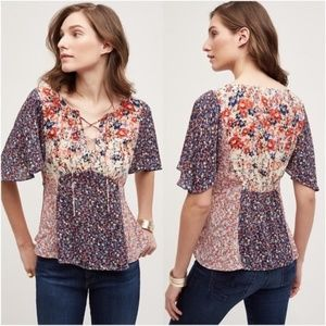 Anthropologie HD in Paris Floral Patchwork Blouse